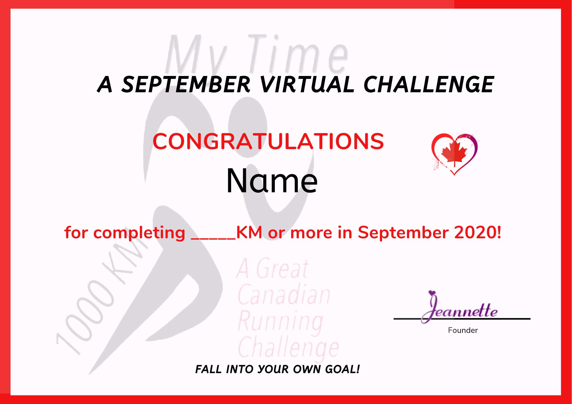 September Certificate